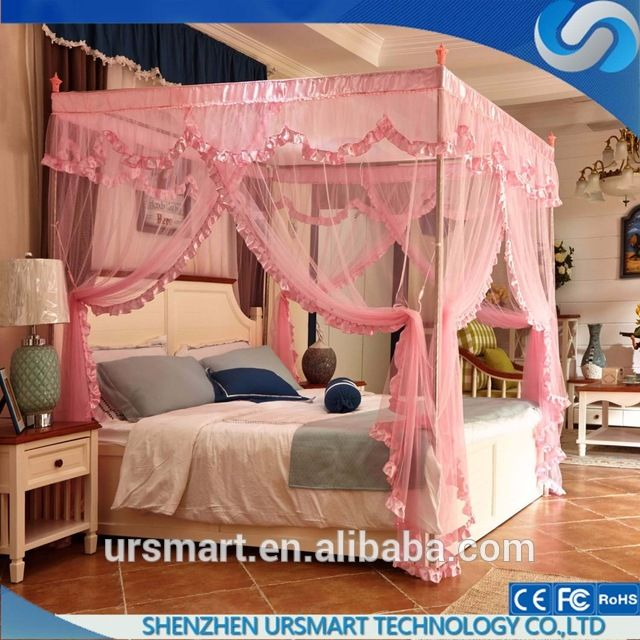 Source Lace luxury four corner square princess mosquito net bed canopy queen size bed mosquito net & Source Lace luxury four corner square princess mosquito net bed ...