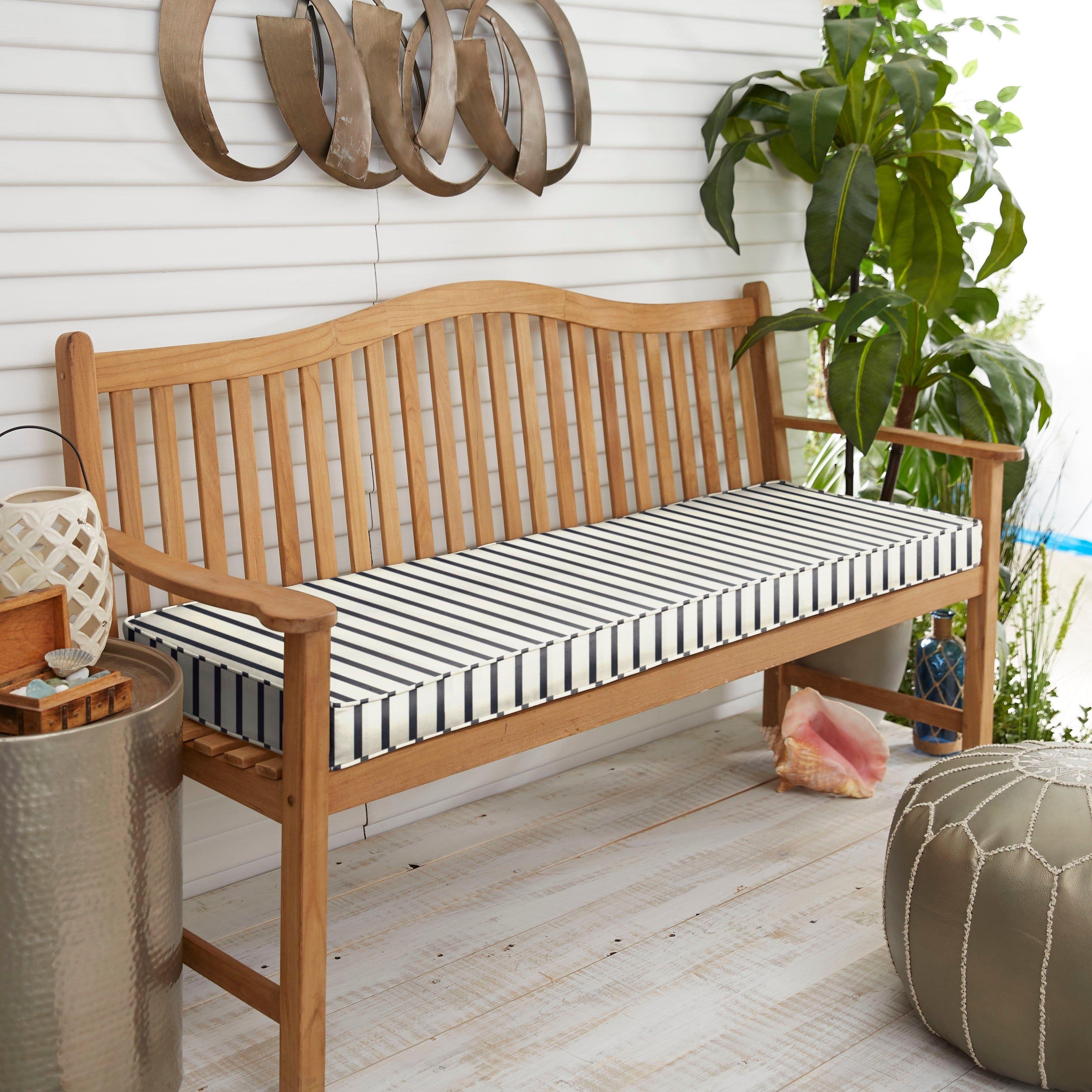 Sunbrella Blue White Stripe Indoor Outdoor Bench Cushion 40 In W X