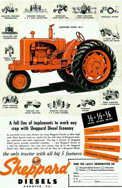 Sheppard Diesel Ad Tractors Old Tractors Classic Tractor