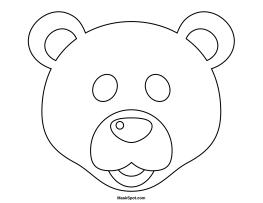 printable polar bear mask to color january preschool winter
