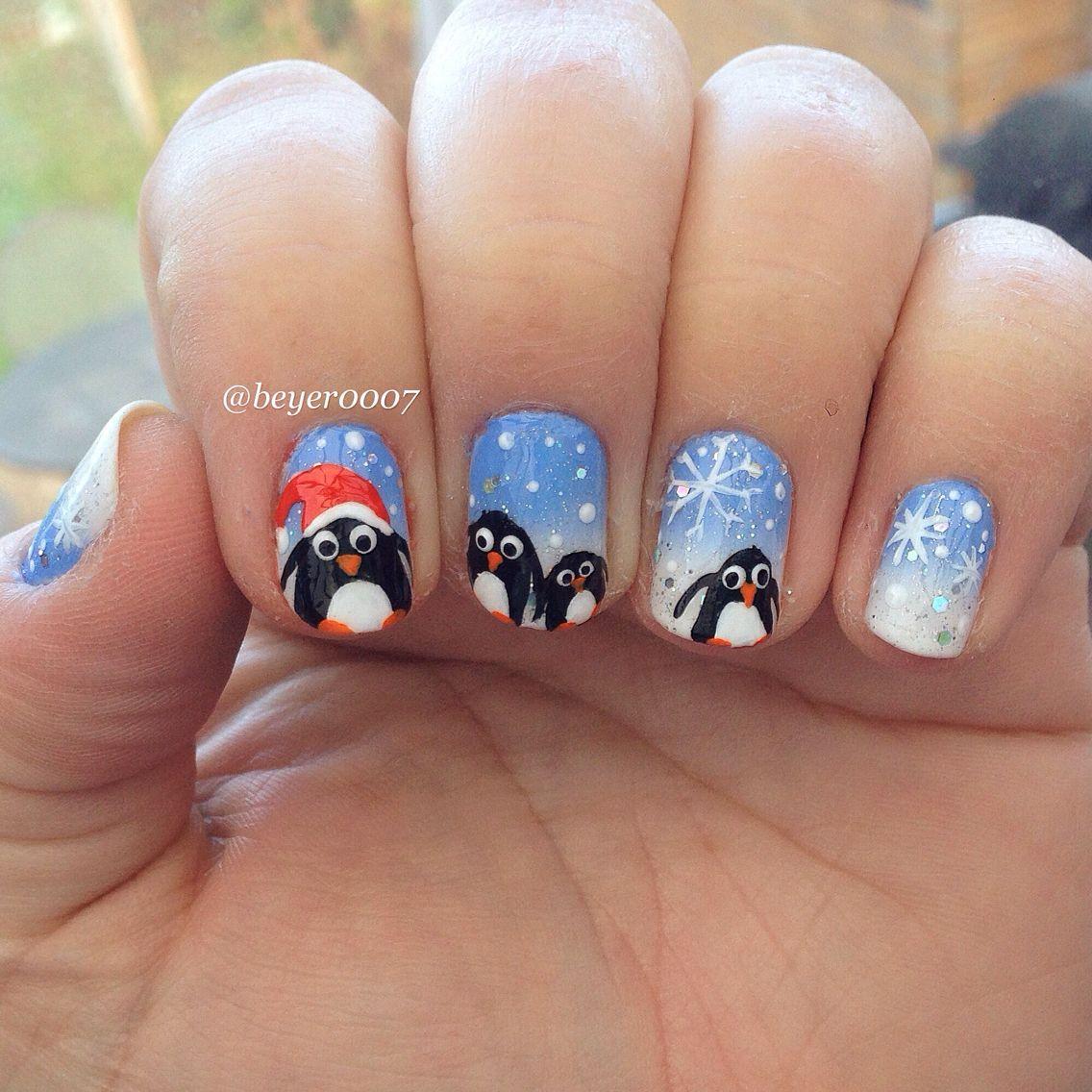 Penguin family nails   Penguin Nails   Pinterest   Penguin nails