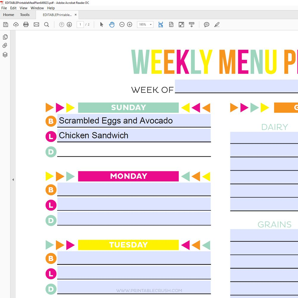 Editable Meal Plan Printable Meal Planning Printable Meal