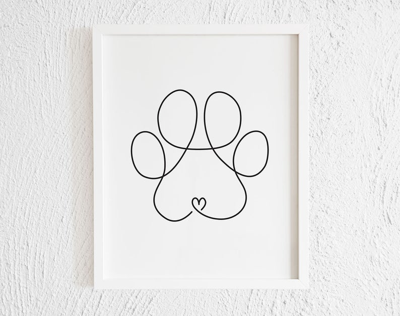 Photo of Minimalist Dog Paw Drawing Doodle Wall Art Print. Printable Modern Paw Illustration Decor. One Line Paw Print. Pet Corner. Living Room.
