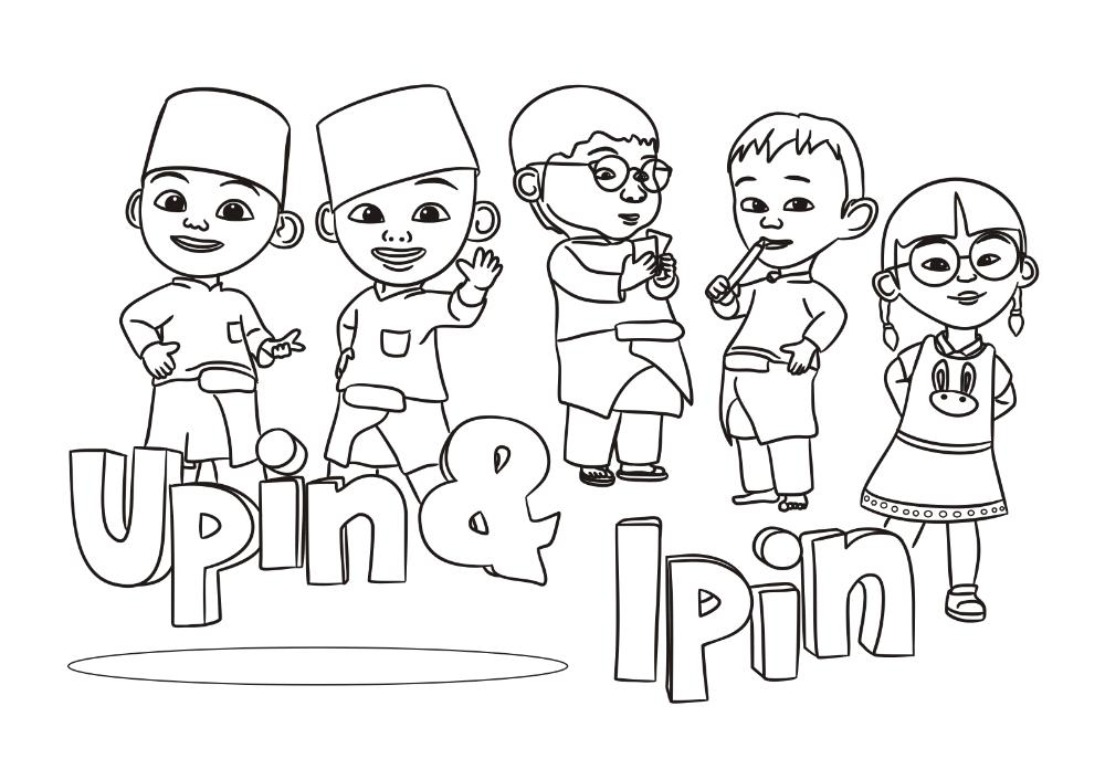 Gambar Mewarnai Upin Ipin Untuk Anak Paud Dan Tk Halaman Mewarnai Buku Mewarnai Gambar Kartun