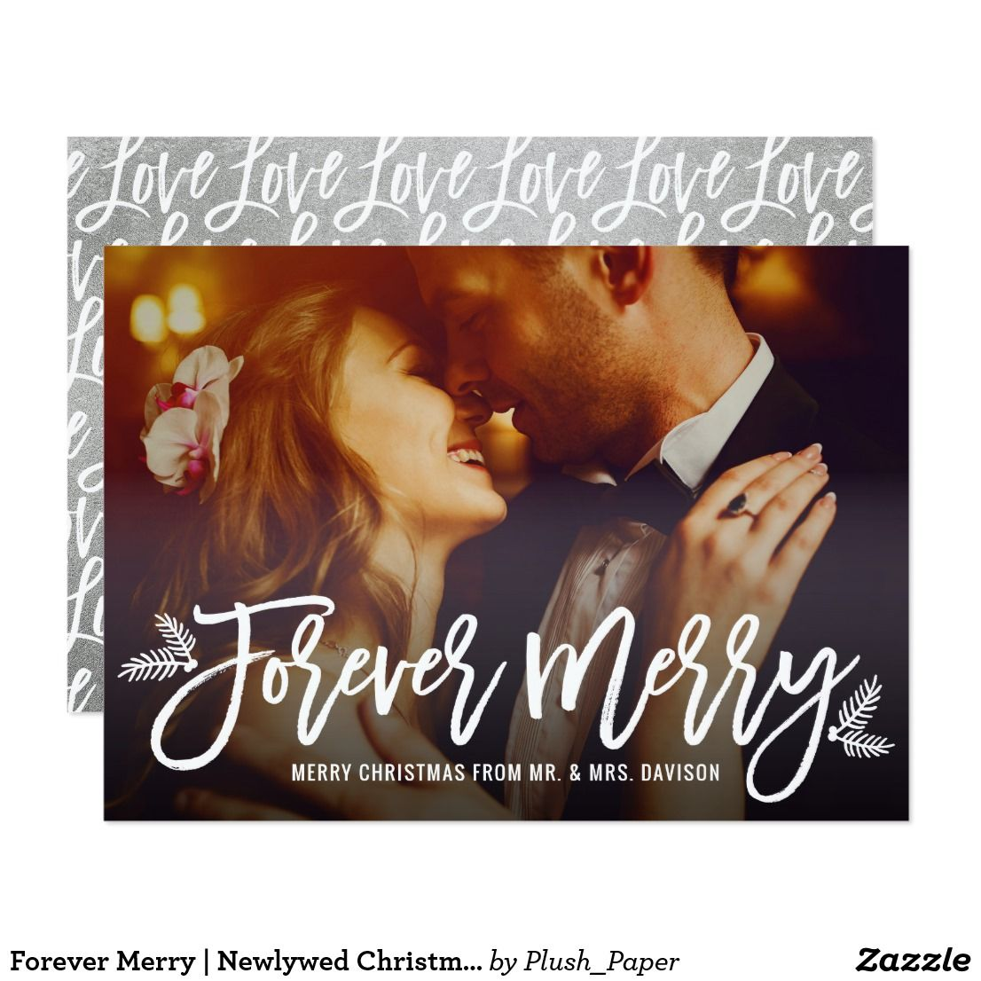 Forever Merry | Newlywed Christmas Card | Newlywed christmas card