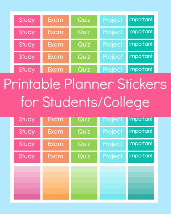 Printable Student Stickers- fit in your Erin Condren Planner