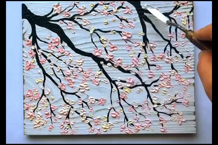 Palette Knife Painting Cherry Blossom Tree Pink Peach Feminine Luxurious A Cherry Blossom Painting Cherry Blossom Painting Acrylic Acrylic Painting Flowers