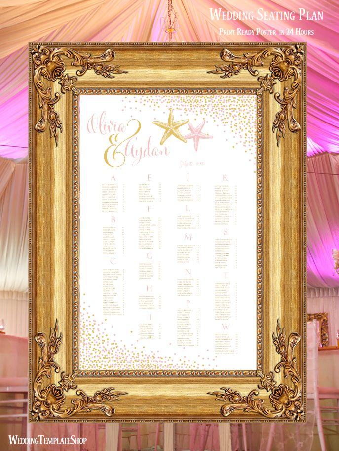 Wedding Seating Chart Poster Confetti Starfish Blush Pink Gold Print Ready Digital File