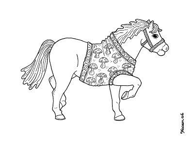 Karen`s Paper Dolls: Klavs Horse Dressed to Print and Colour. Klavs hest klædt på til at printe og farvelægge.