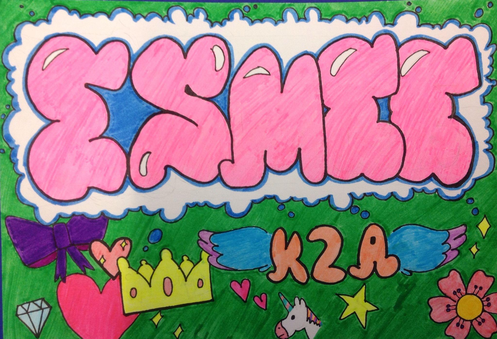Name Graffiti, Esmee K2a, Corlaer College VMBO Nijkerk | LETTERS ...