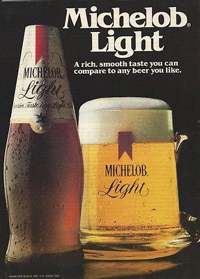 1982 Michelob Light Beer Smooth Taste Anheuser Busch Original
