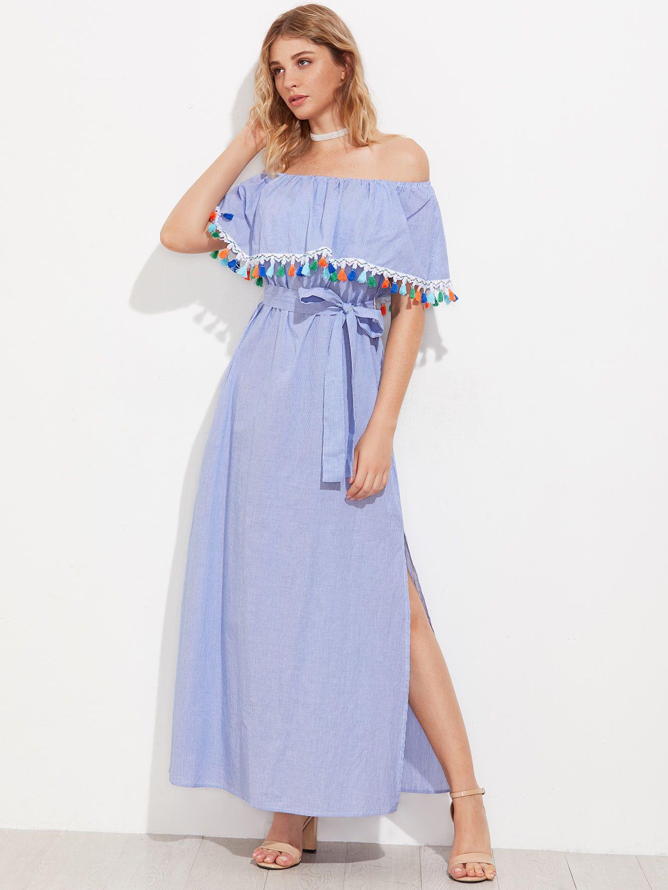 16ad796a18f Buy it now. Tassel Trim Flounce Off Shoulder Side Slit Dress. Blue ...