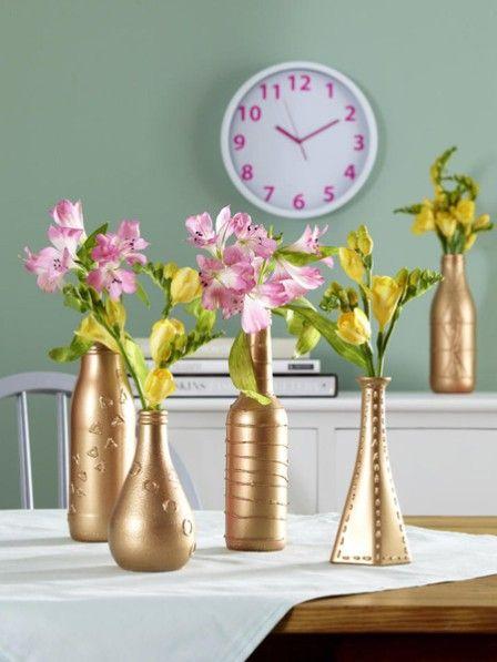 diy tipp wir basteln aus altglas coole vasen blumengeschenke zum geburtstag pinterest. Black Bedroom Furniture Sets. Home Design Ideas