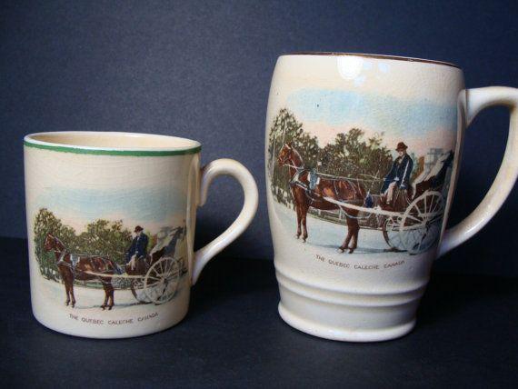 tasse caf en c ramique vintage coupe paire bovey angleterre cheval chariot la caleche de. Black Bedroom Furniture Sets. Home Design Ideas
