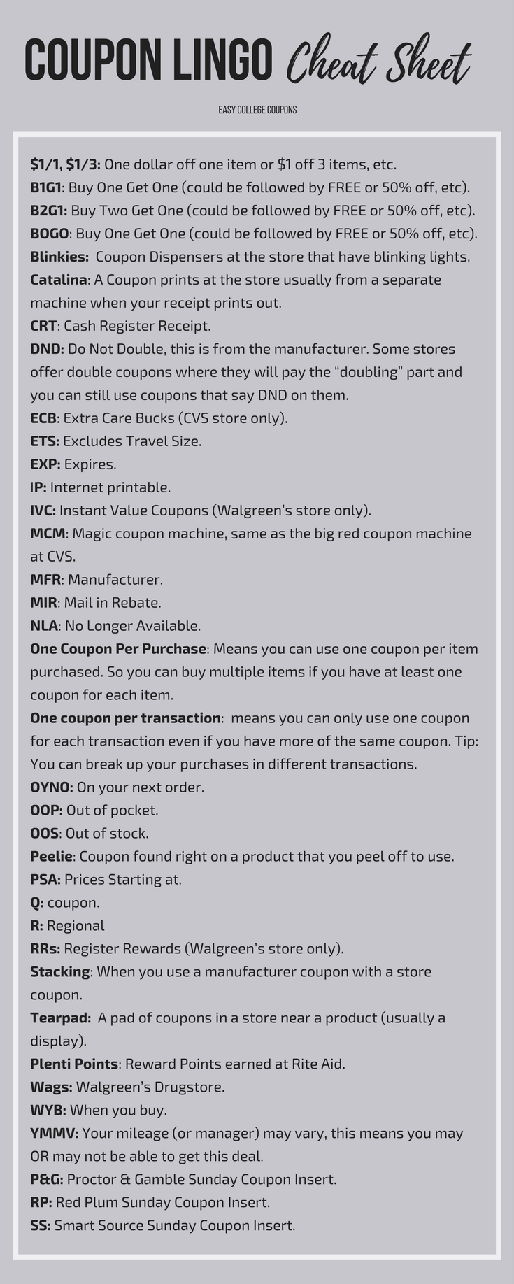 Coupon Lingo Learn What It All Means Couponing Coupons