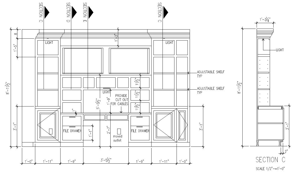 Front Elevation Autocad File : This is typical cad drawing for built in desk w flanking