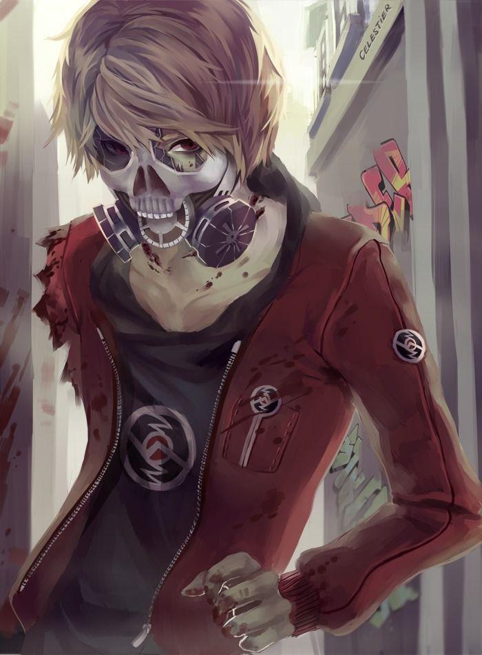 Anime Zombie Characters : Anime boy gas mask manga skull blood