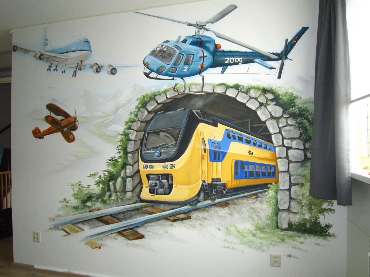 Voor de jongens kamer anja geertsma muurschilderingen
