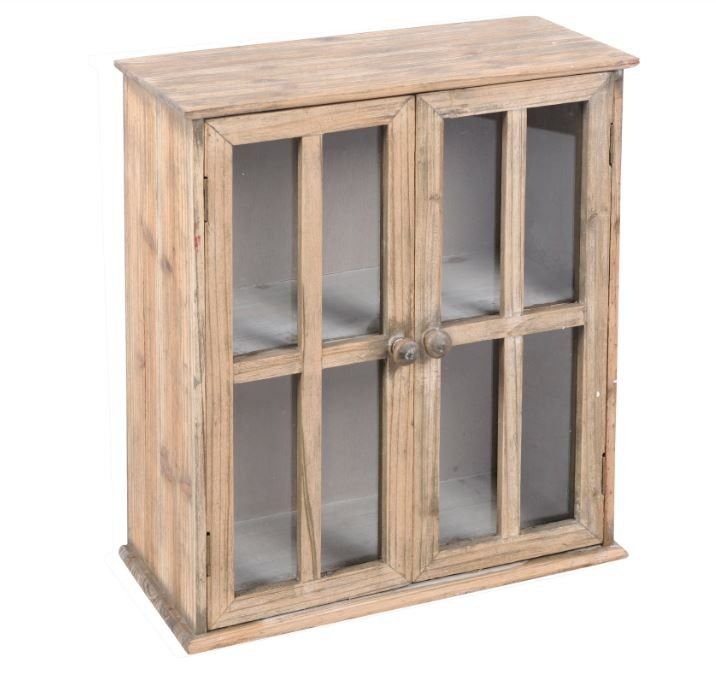 h ngeschrank schrank glasschrank im fensterladen design holz vintage look k chenideen. Black Bedroom Furniture Sets. Home Design Ideas