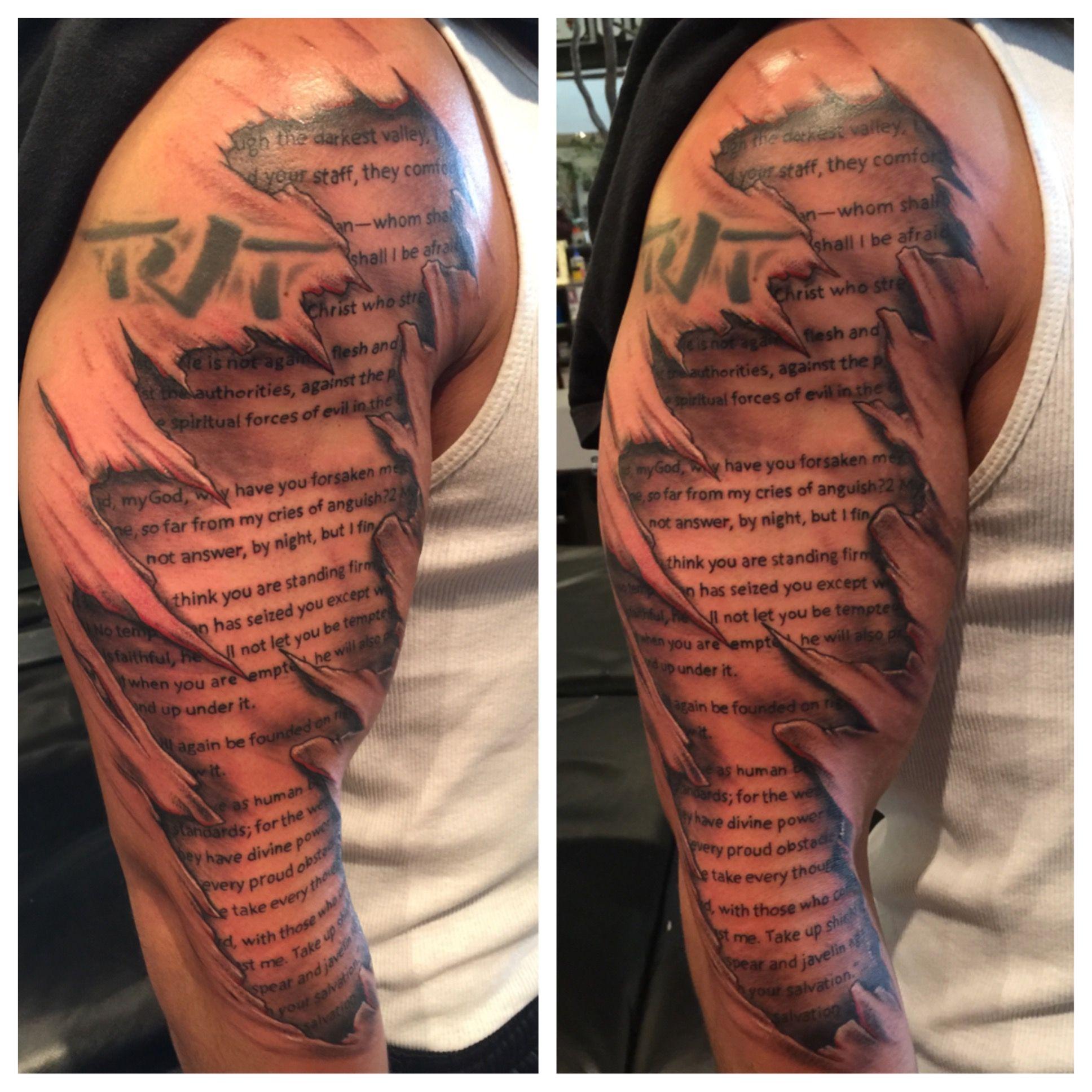Skin Rip, Tattoo, Bible Verse, Lettering, Under Skin