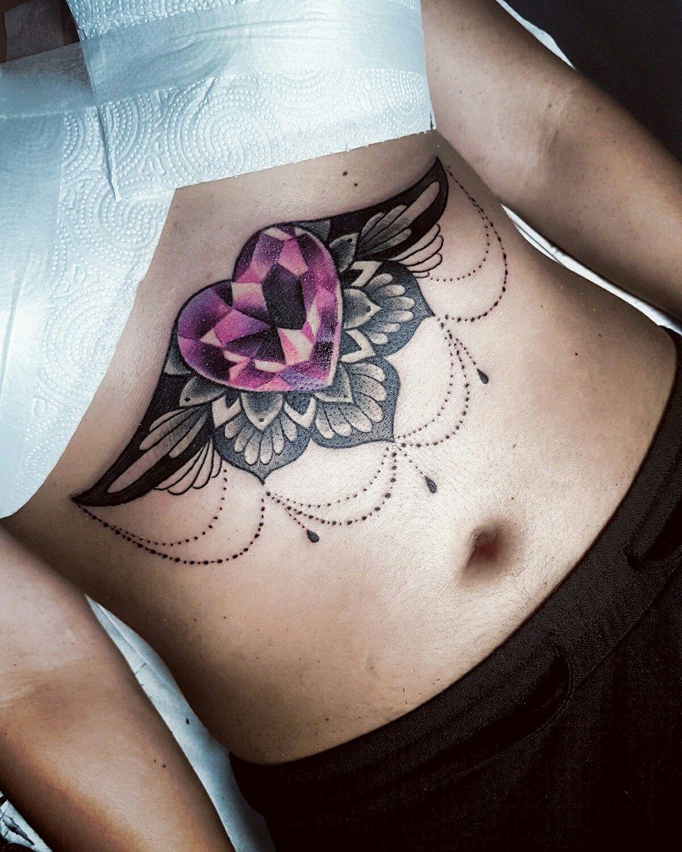 sternum #crystal #heart #tattoo | Tattoos | Pinterest