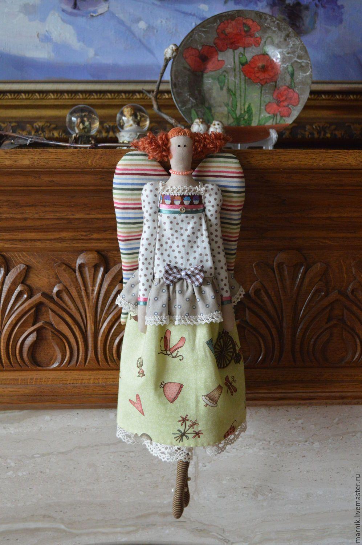 Купить Рыженький ангел - комбинированный, тильда ангел, кукла ручной работы…