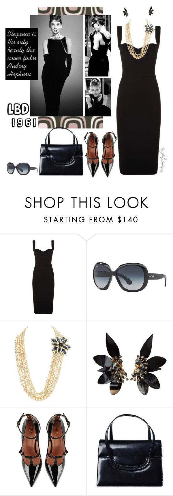 """""""1961 LBD"""" by maraia74 ❤ liked on Polyvore featuring Victoria Beckham, Ray-Ban, Marni, RED Valentino and Gucci"""