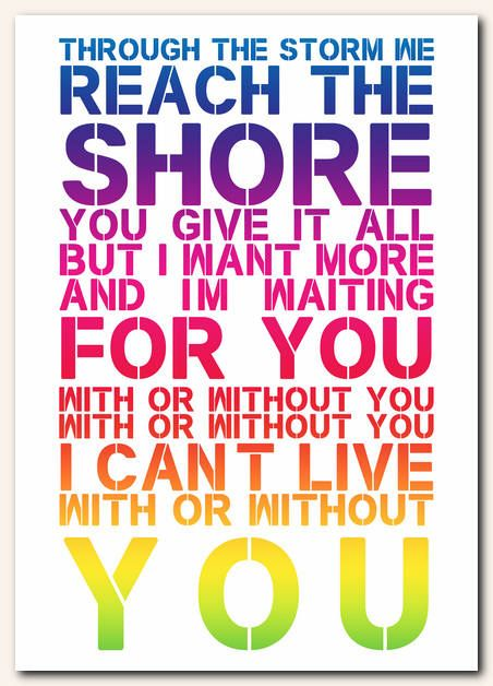From With Or Without You By U2 Song Lyric Posters Song Lyric Quotes Lyric Poster