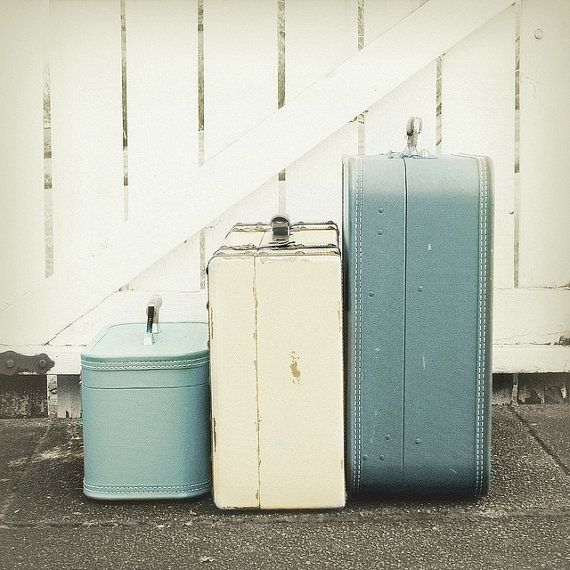 """vintage suitcases """"at the gate in blue"""""""
