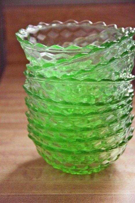 Green depression glass berry bowls.