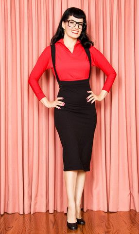 a4f1805ba36 Overall Pencil Skirt and red top...this is so me!!!!
