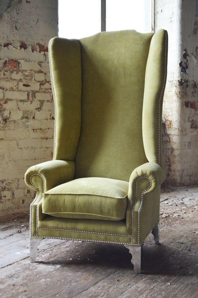 Modern Queen Anne Chesterfield Wing Arm Chair Extra High Back Lime Green Velvet Furniture