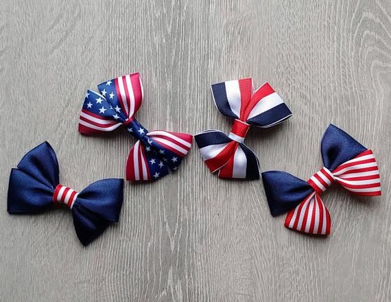 4th of July Boutique Hair Bow Clips   Independence Day Theme Bows   Kids July 4th Hair Accessories   Red, White & Blue Hair Barrettes
