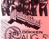 Judas Priest with Dokken at the Civic Arena August 5, 1986 Concert Sheet by MVS