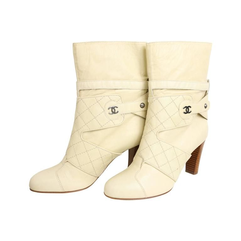 46ce990cca4 Chanel Cream Leather Quilted Ankle Boots