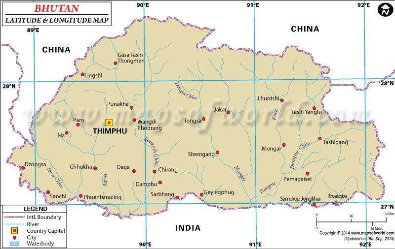 Bhutan Latitude And Longitude Map Latitude And Longitude Map
