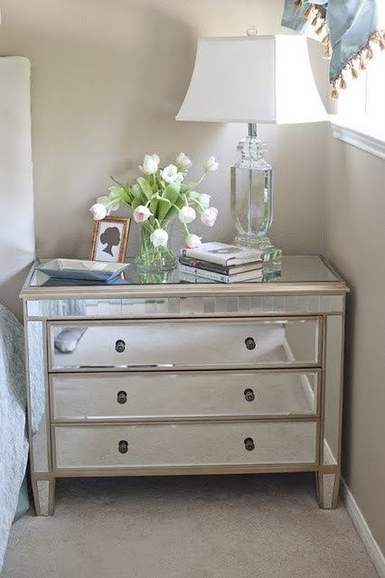Mirrored Dresser Used As A Nightstand To Add Extra Storage
