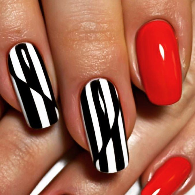 Red Gloss With Black And White Nail Art Feature Nails By