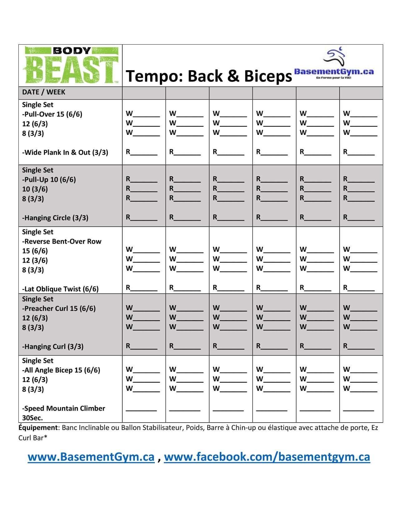 Body Beast Tempo Back Biceps Worksheet