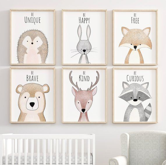 Woodland Inspirational Nursery Decor, Nursery Art, Nursery Prints, Nursery Wall Art, Woodland Animal Prints, Nursery Decor, Forest Nursery