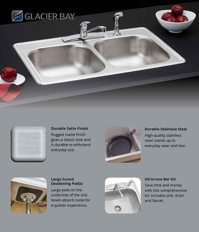 Glacier Bay All In One Drop In Stainless Steel 33 In 4 Hole