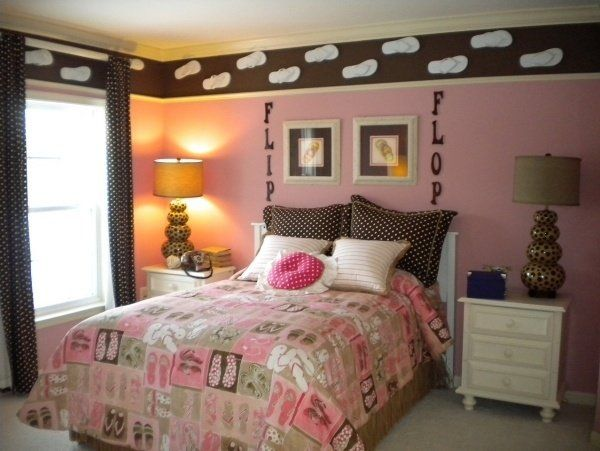 Creative Teenage Girl Bedroom Design Ideas Wall Decoration Ideas White  Nightstands Table Lamps