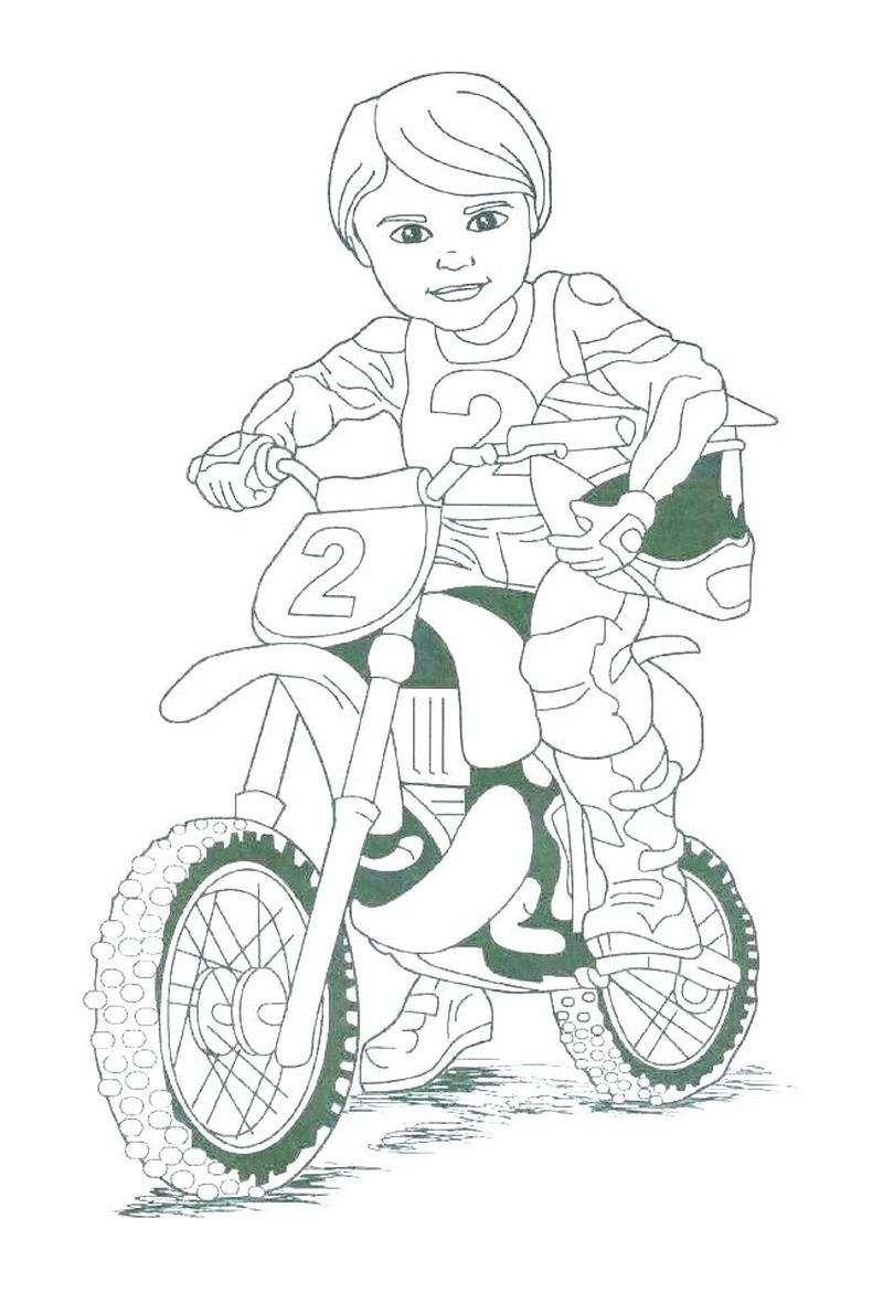 Motorcycle With Driver Coloring Pages In 2020 Motorcycle Birthday Dirt Bike Birthday Motorcycle Birthday Parties