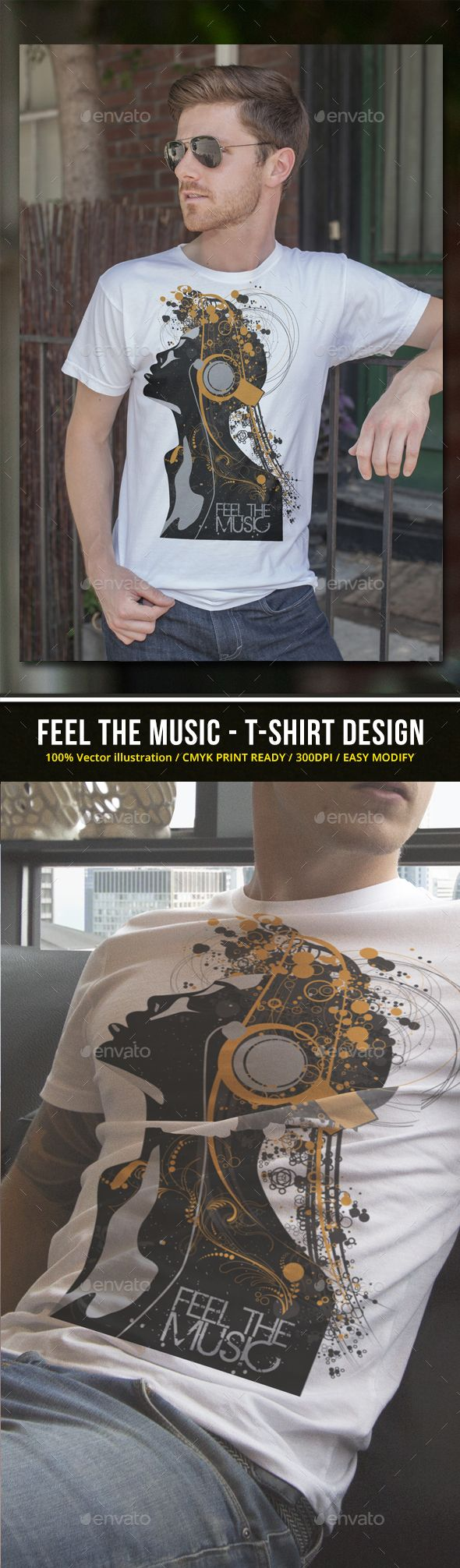 Shirt design eps - Feel The Music T Shirt Design Eps Template Music T Shirt