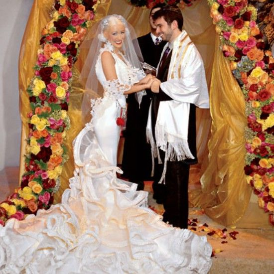 Christina Aguilera's wedding dress    -20 foot train  -two million for the wedding