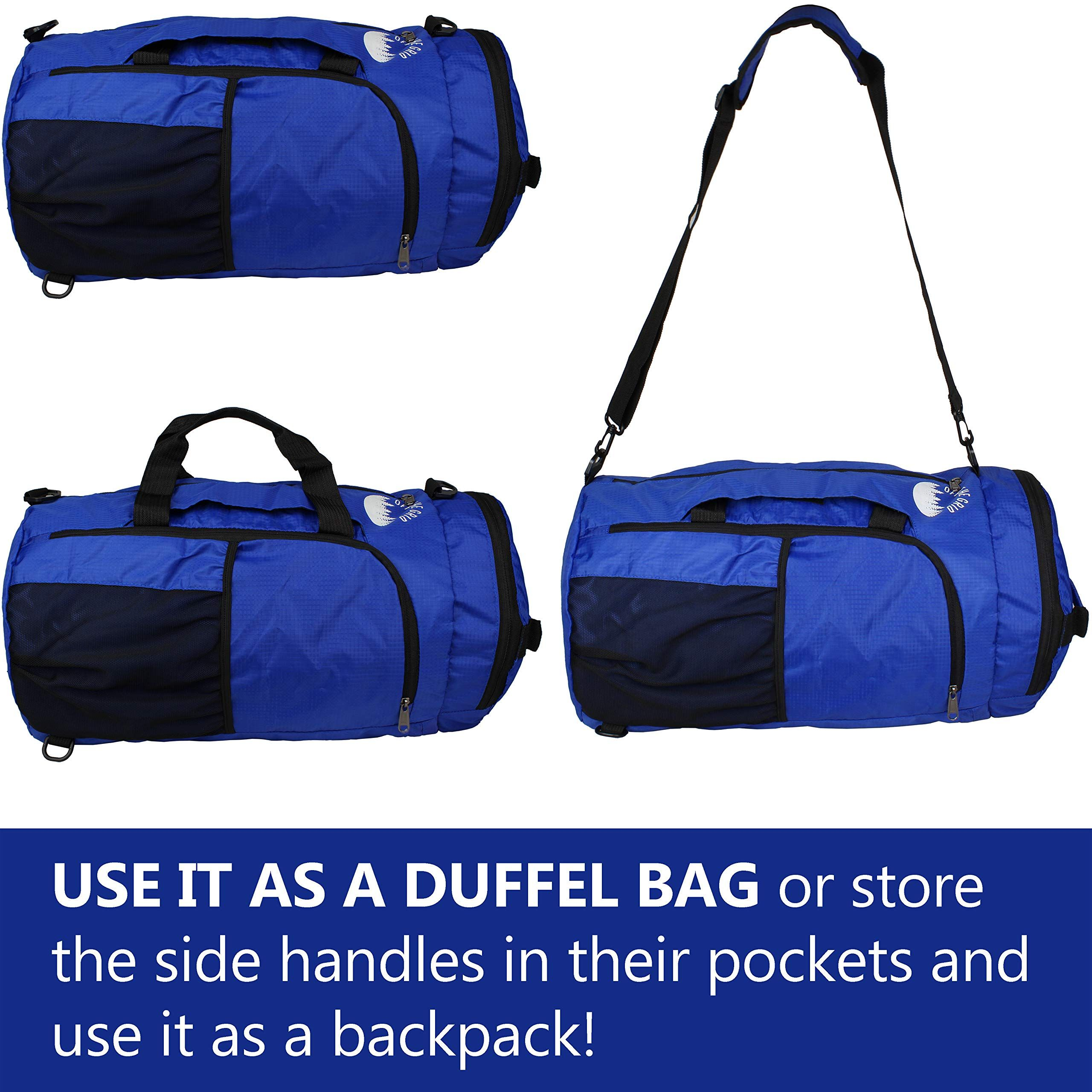 07ccdd2ae548 Packable Big Duffle Bag Camp xl 40l Duffel Bag Packable Foldable Backpack  Large 3way Bag for