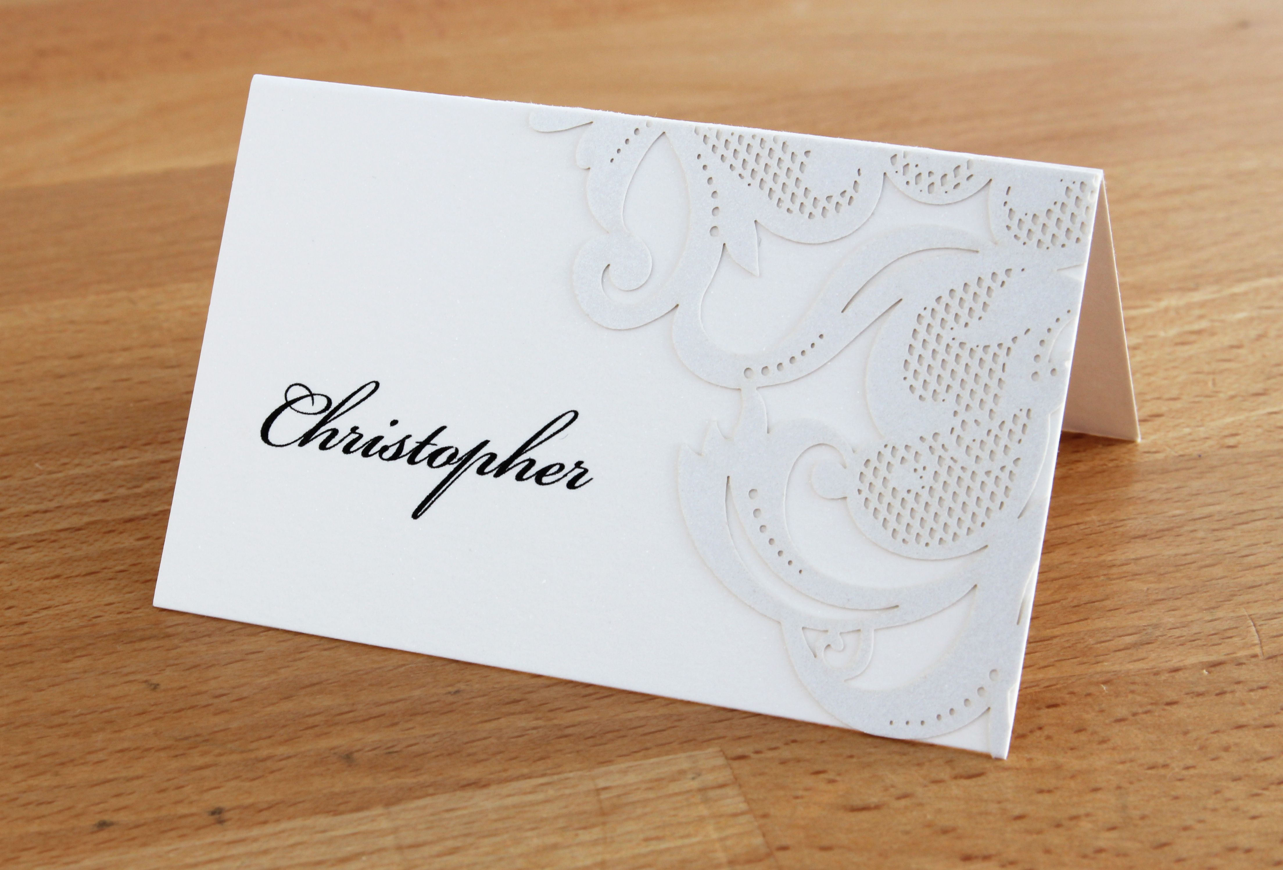 Rochester Place Card with laser cut detail in white | Rochester ...
