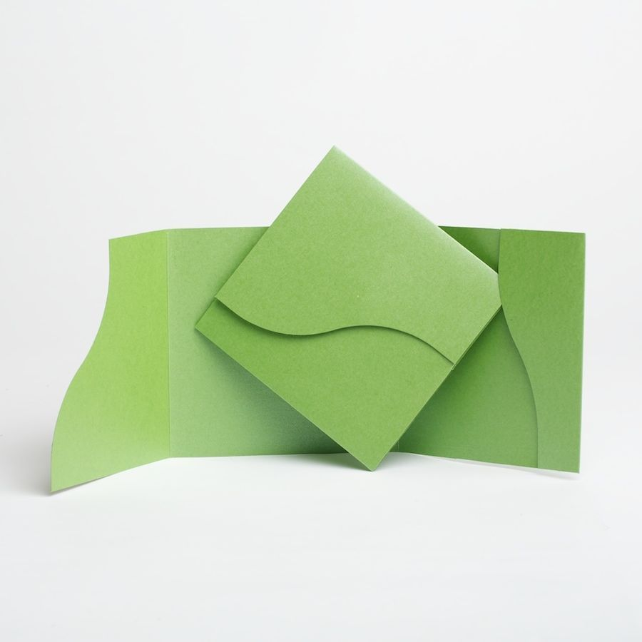Apple Green Wedding Invitations: Apple Green Pocketfold Wedding Cards With Envelopes. DIY