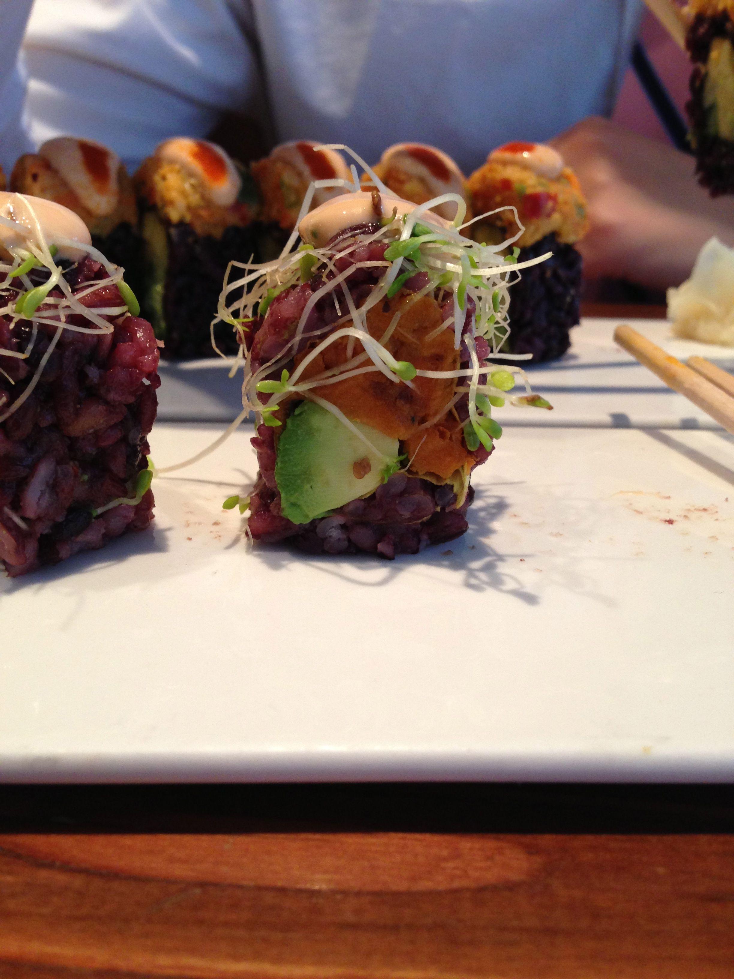 #vegan #sushi - avocado, sweet potato, alfalfa sprouts