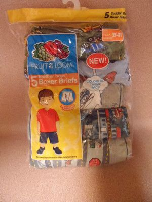 BOYS BOXER UNDERWEAR 2T-3T. 5 PAIRS IN PACKAGE. FRUIT OF THE LOOM. NEW IN PACK.